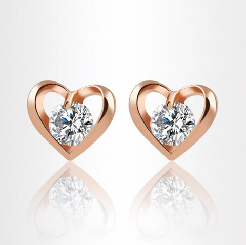 Beautifully Crafted Gold Plated Heart Studs
