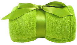 "Simplicity Soft Plush Fuzzy Solid Colored Throw Blanket 42""x 60"", Lime"