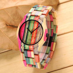 Hand-Made Colorful Fashion Women's Bamboo Wood Watch