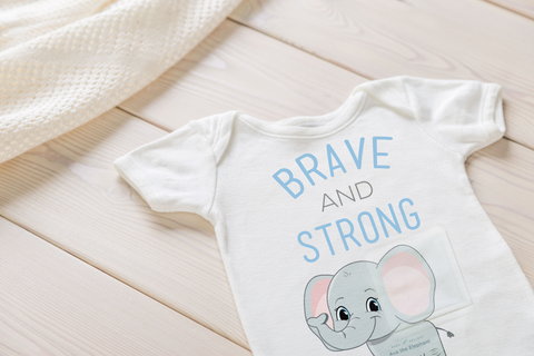 Ava the Elephant® Design - Tubesies g-tube baby Bodysuit, adaptive appearal for infants and toddler. G-tube access clothing, baby garment for g-tubes.