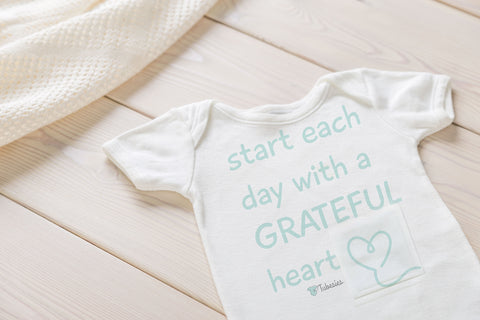 NEW! Grateful Heart - Tubesies g-tube baby Bodysuit, adaptive appearal for infants and toddler. G-tube access clothing, baby garment for g-tubes.