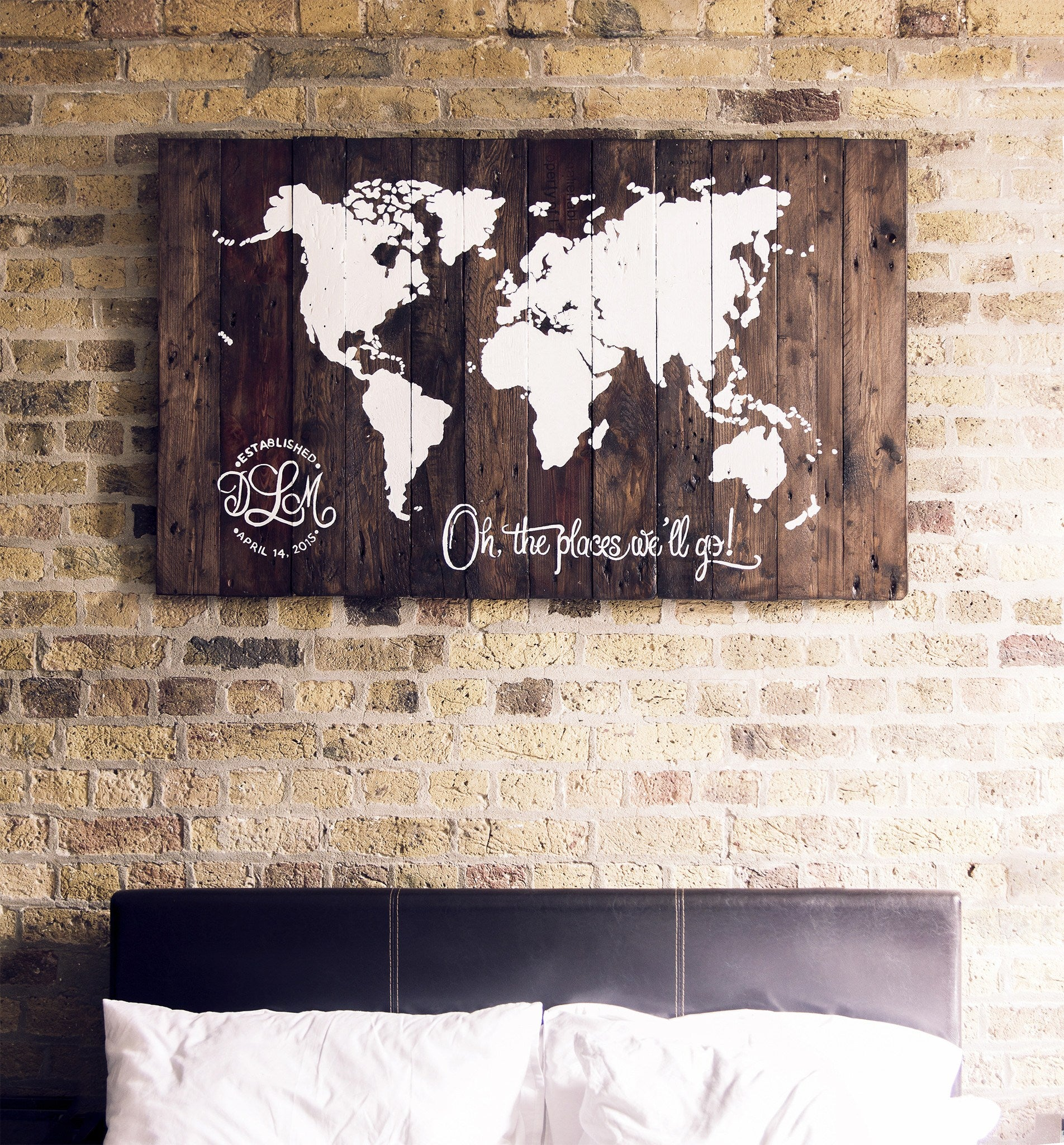 Rustic Reclaimed Wood Sign World Map Salter Creek Designs