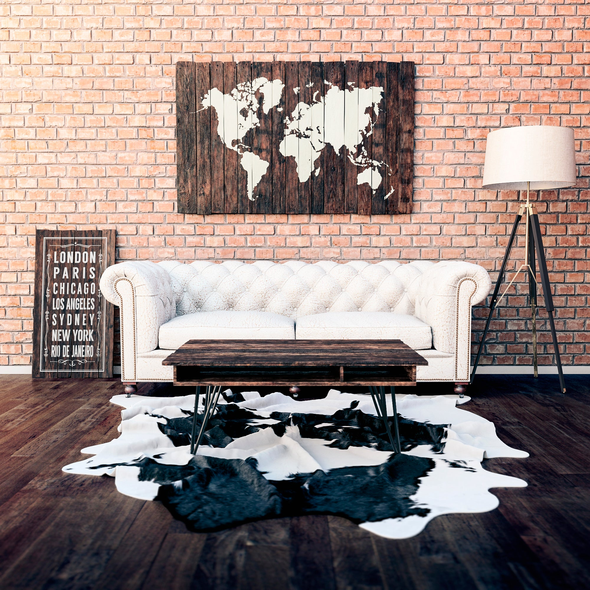 Rustic Reclaimed Wood Sign   World Map
