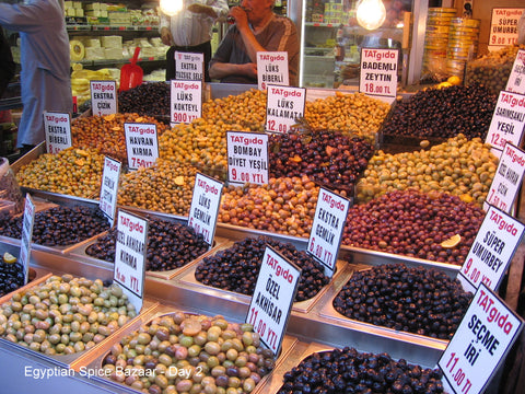 Delicious array of fresh olives in Spice Market