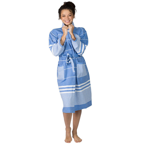 Aegean Sky Blue Cotton Robe ~ Ideal for Home, Spa, Resort, Travel