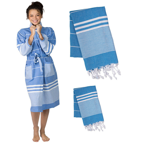 Aegean Robe and Towel Set – Sky Blue - The Active Towel by® Bluestone Imports