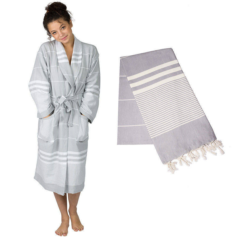 Aegean Robe and Towel Set – Gray - The Active Towel by® Bluestone Imports