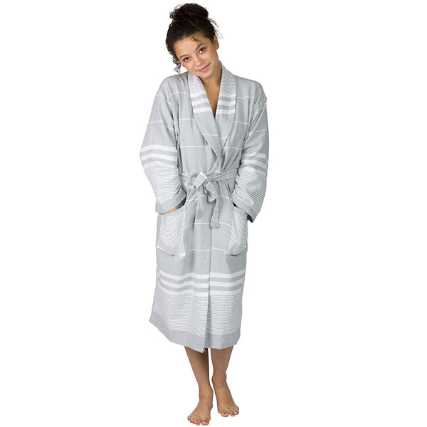 Aegean Gray Cotton Robe ~ Ideal for Home, Spa, Resort, Travel