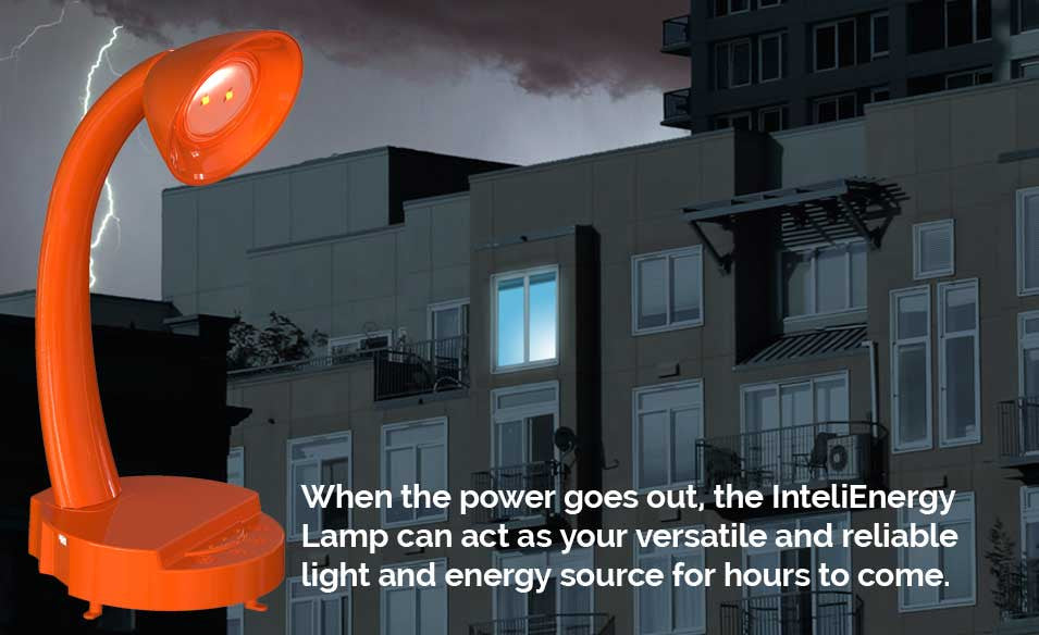 Be always prepared. Use your InteliEnergy Lamp as a flashlight. Always powered to go!