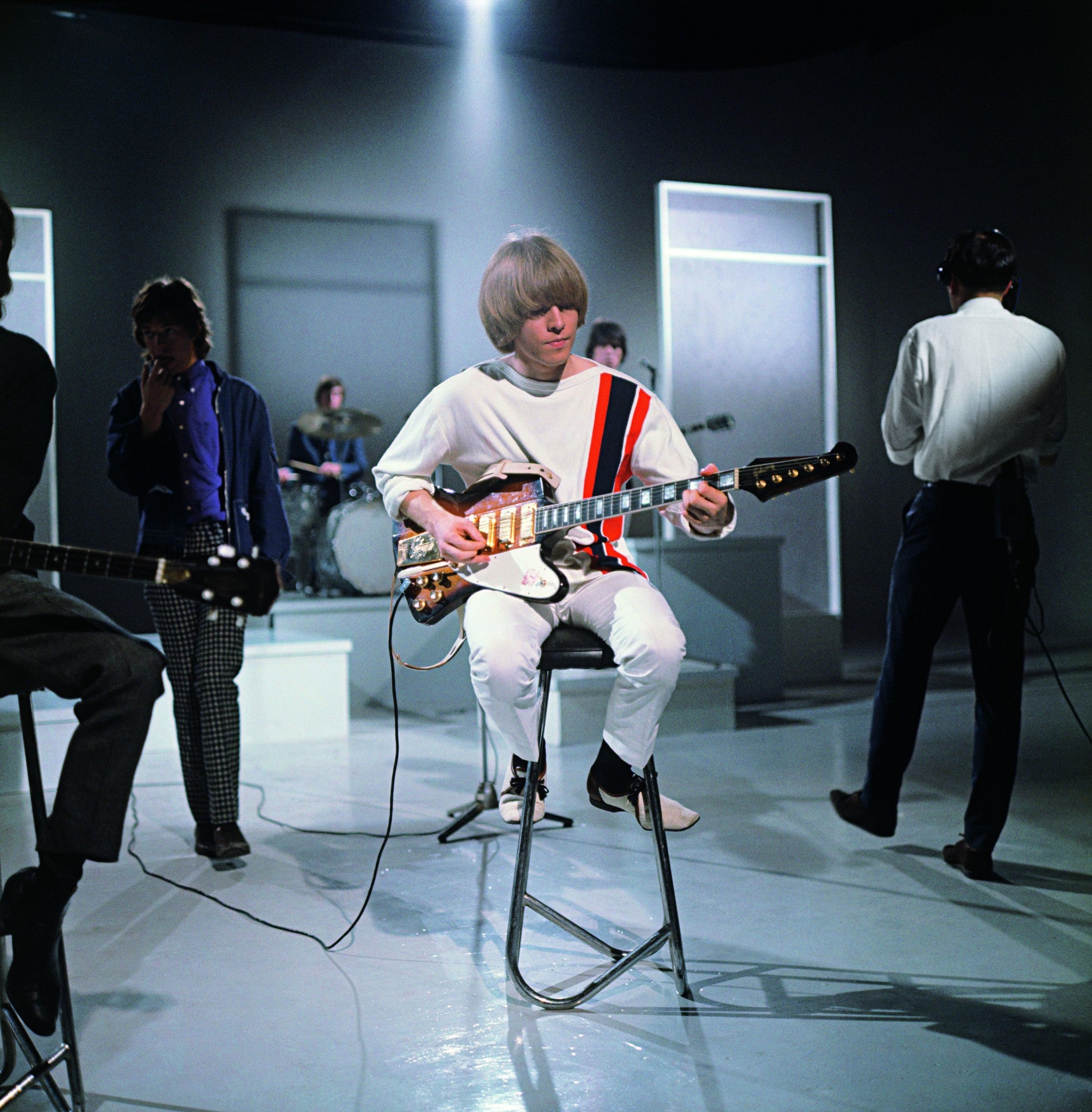 Brian Jones rehearsing for TV show Ready Steady Go to promote the new single 
