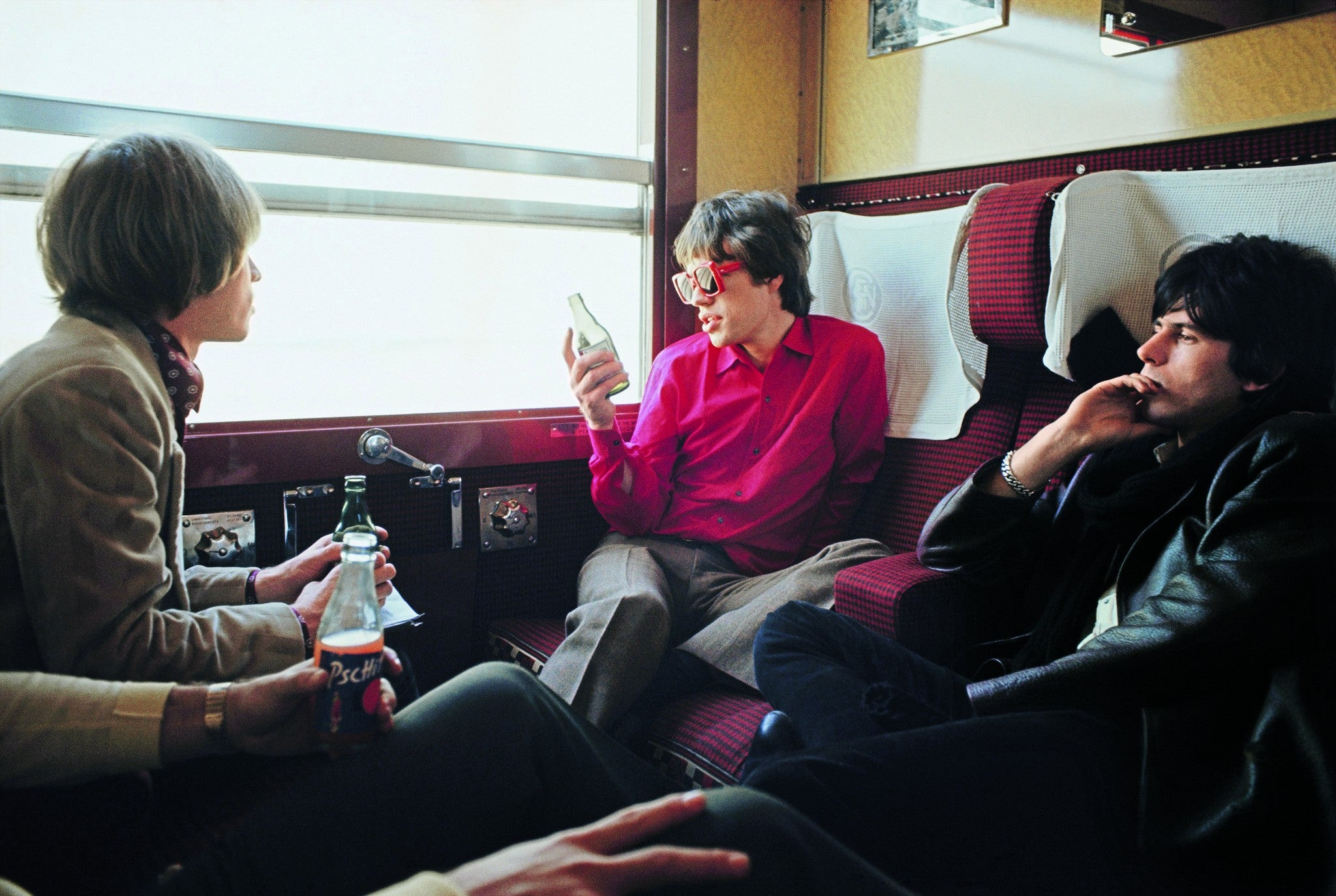The Rolling Stones on the train to Marseilles,  France, 1966 ©Jean-Marie Périer