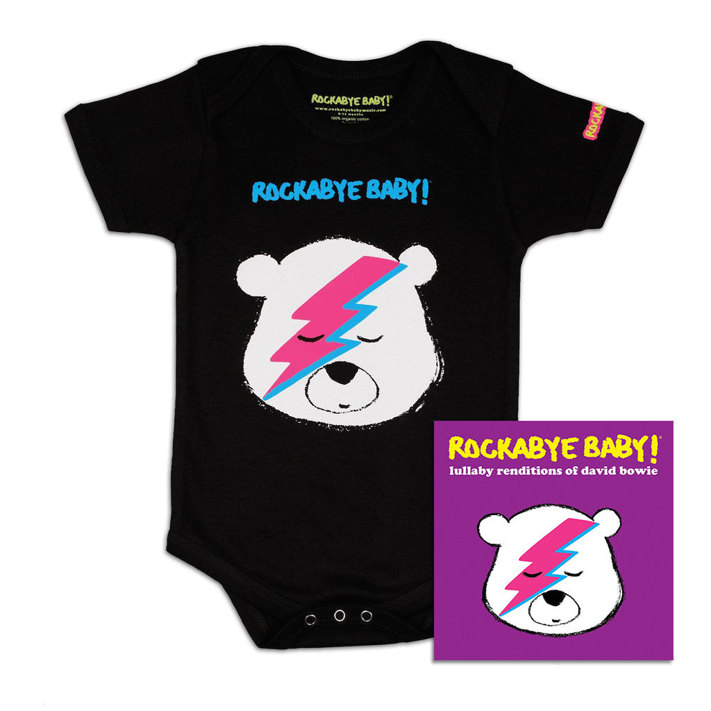 rockabye baby david bowie organic bodysuit black with cd