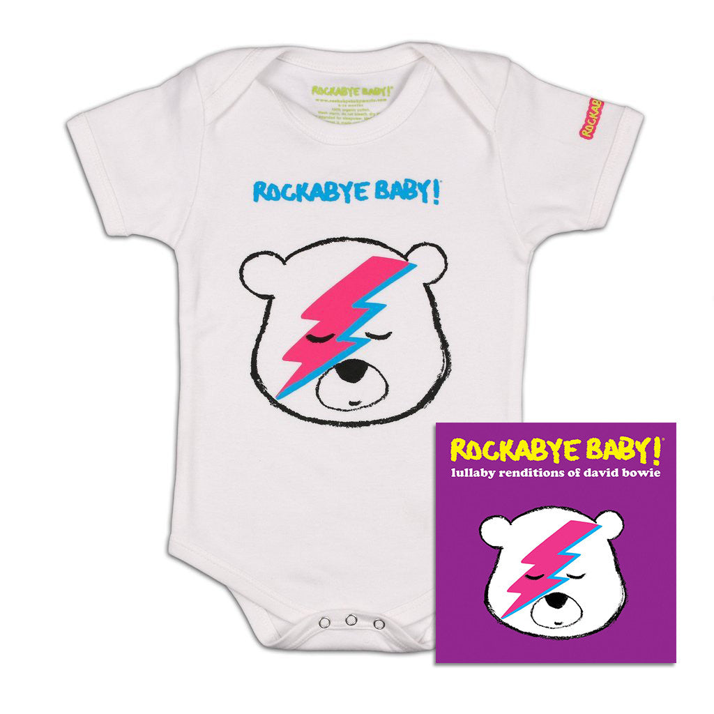 rockabye baby david bowie organic bodysuit white with cd