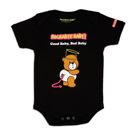 rockabye baby good baby bad baby organic bodysuit black