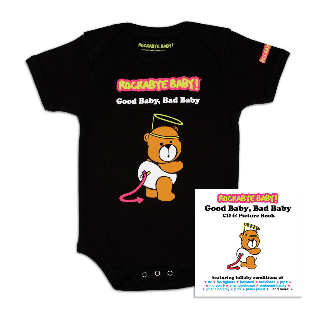 rockabye baby good baby bad baby organic bodysuit black with cd