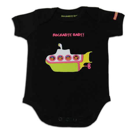 rockabye baby beatles organic bodysuit black