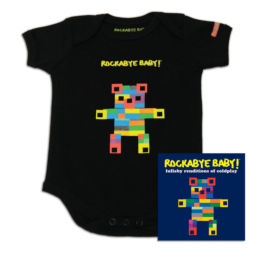 rockabye baby coldplay organic bodysuit black with cd