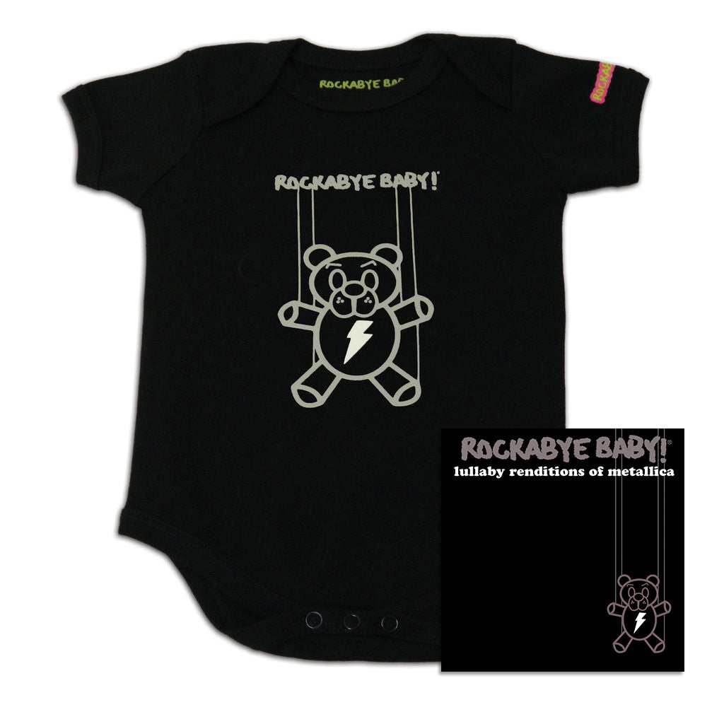 rockabye baby metallica organic bodysuit black with cd
