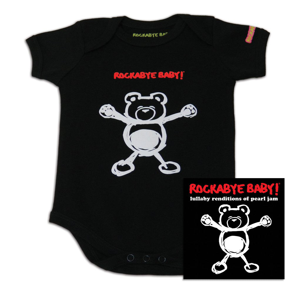 rockabye baby pearl jam organic bodysuit black with cd