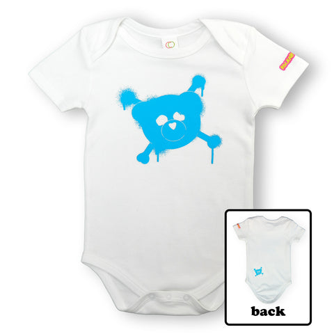 Organic Baby Bodysuit (Blue Logo on White)