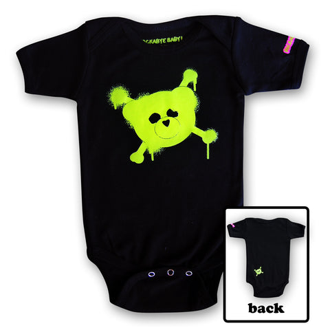 rockabye baby logo organic bodysuit green on black