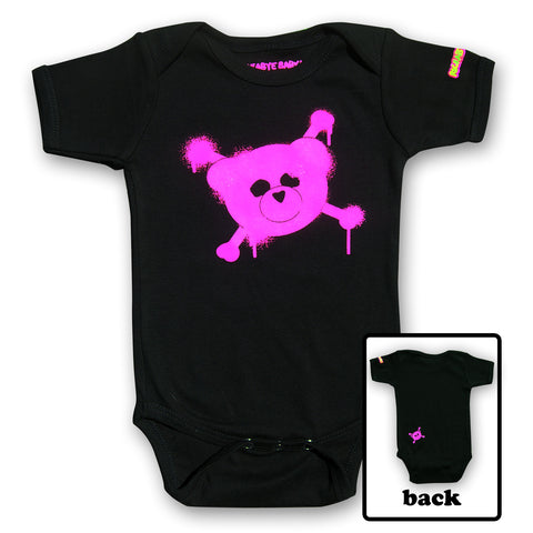 rockabye baby logo organic bodysuit pink on black