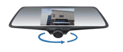 "BOYO VTR50M - Rear-View Mirror with 5"" HD Monitor, 360-degree Camera and Buit-in 2CH DVR Recording (Straps onto Original Mirror)"