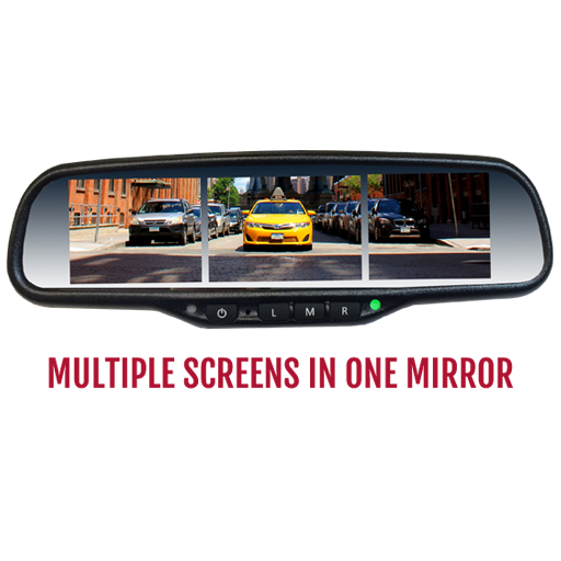"VTM35X3 : Multiple screen 3.5"" LCD in one rear view OE Style Mirror Monitor.  Full Replacement Type"