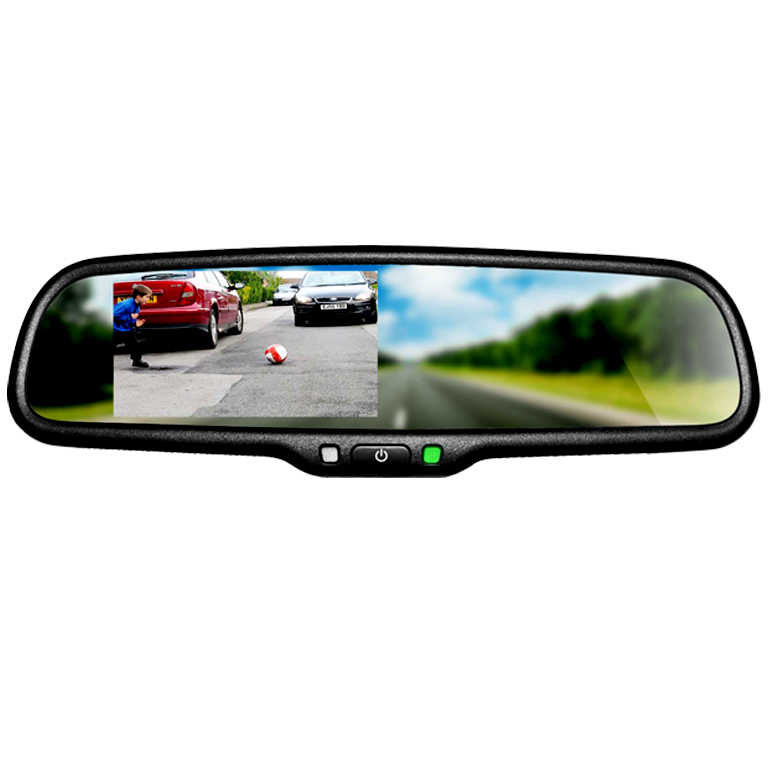 "BOYO VTB46M - Replacement Rear-View Mirror with 4.3"" TFT-LCD Backup Camera Monitor with Built-in Speaker and Bluetooth"
