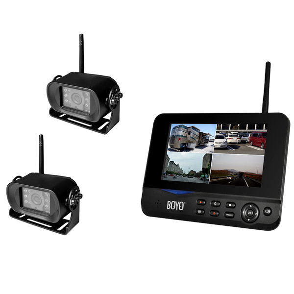 "BOYO VTC700RQ-2 - Digital Wireless 2 Camera DVR System with 7"" Monitor for Car, Truck, SUV and Van (2-Channel System)"
