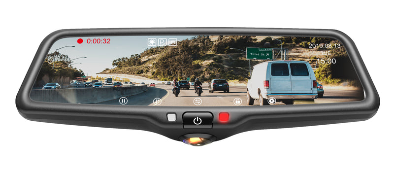 "BOYO VTR96M - 9.66"" Full Mirror Screen Rear-View Monitor with 2 CH DVR: 1080P rear-view camera and 360-degree view front cameras for Car, Truck, SUV, and Van"