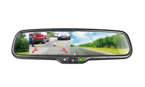 "BOYO VTM43ML - Replacement Rear-View Mirror with 4.3"" TFT-LCD Backup Camera Monitor and Smartphone Mirroring"