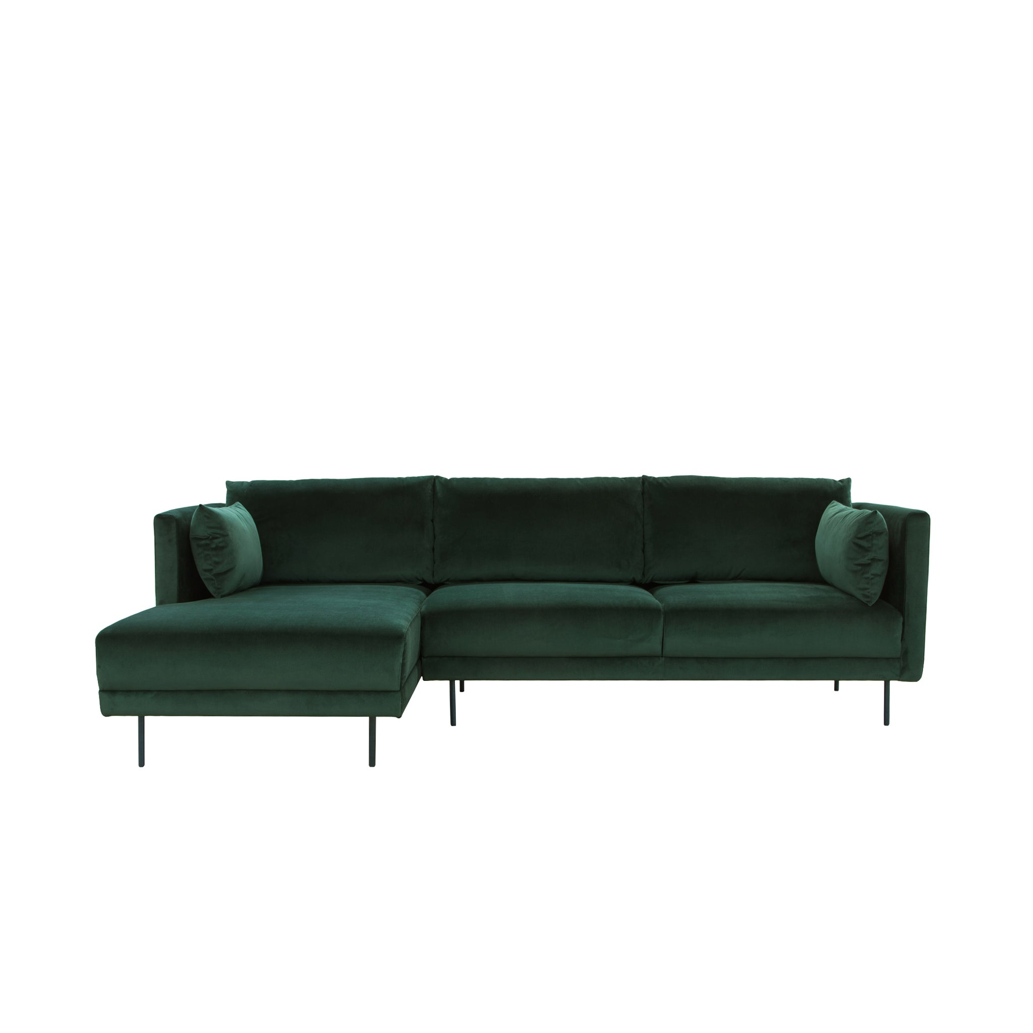 Glasgow 3 Seater Chaise Lounge Left Velvet Green