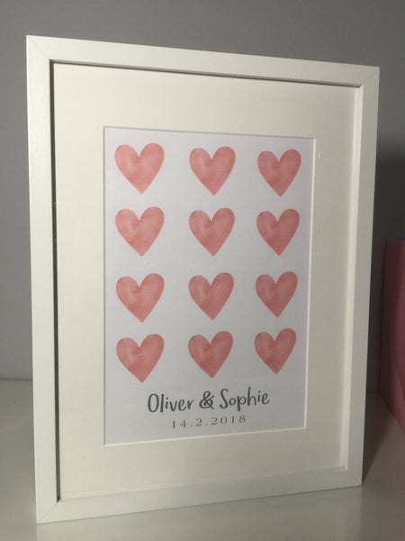 12 Hearts Personalised Frame