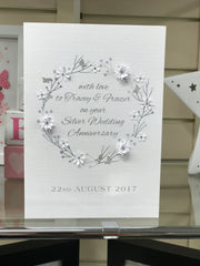 Personalised Silver Wedding Anniversary card