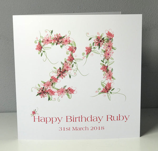 21st Birthday 8 x 8 Personalised Card