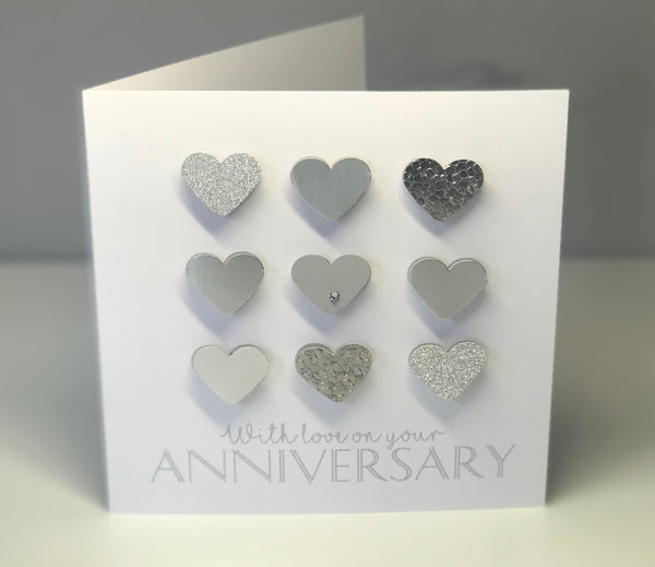 'With Love on your Anniversary' 6x6 Silver Card