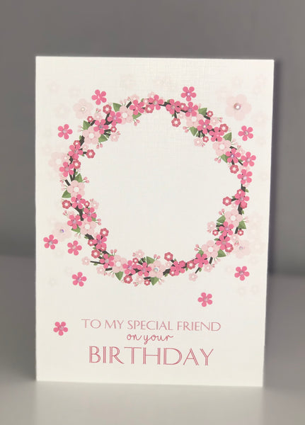 'To My Special Friend on your Birthday' Dark Pink Floral A5 Card
