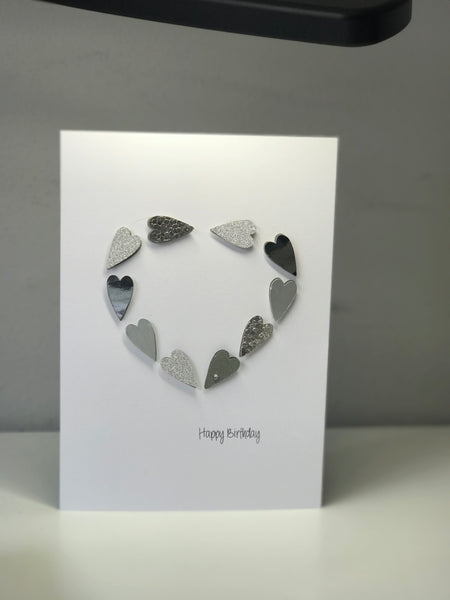 'Happy Birthday' A5 Silver Heart Greeting Card