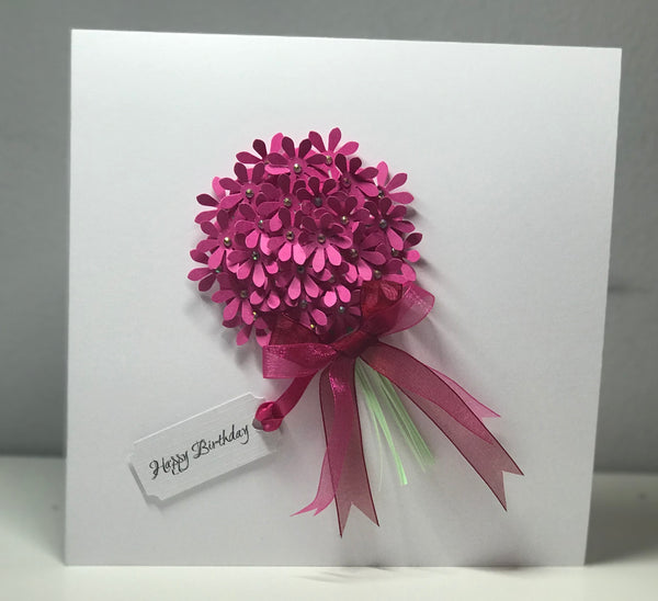 """Happy Birthday"" Large Pink Bouquet Card"