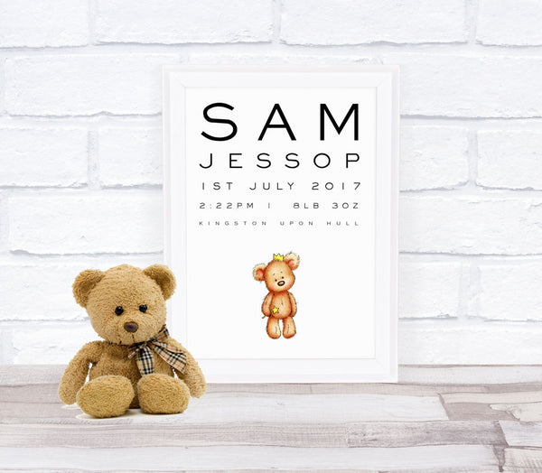 New Baby Teddy Bear Personalised Print