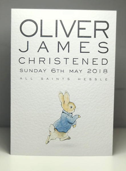 Personalised Peter Rabbit A5 Christening Card