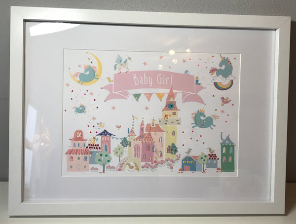 """Baby Girl"" Unicorn Fairytale Embellished Frame"