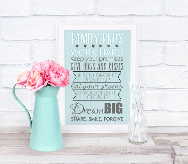 """Family Rules"" Personalised Print Only"