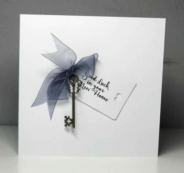 'New Home' Grey Bow 6 x 6 Card