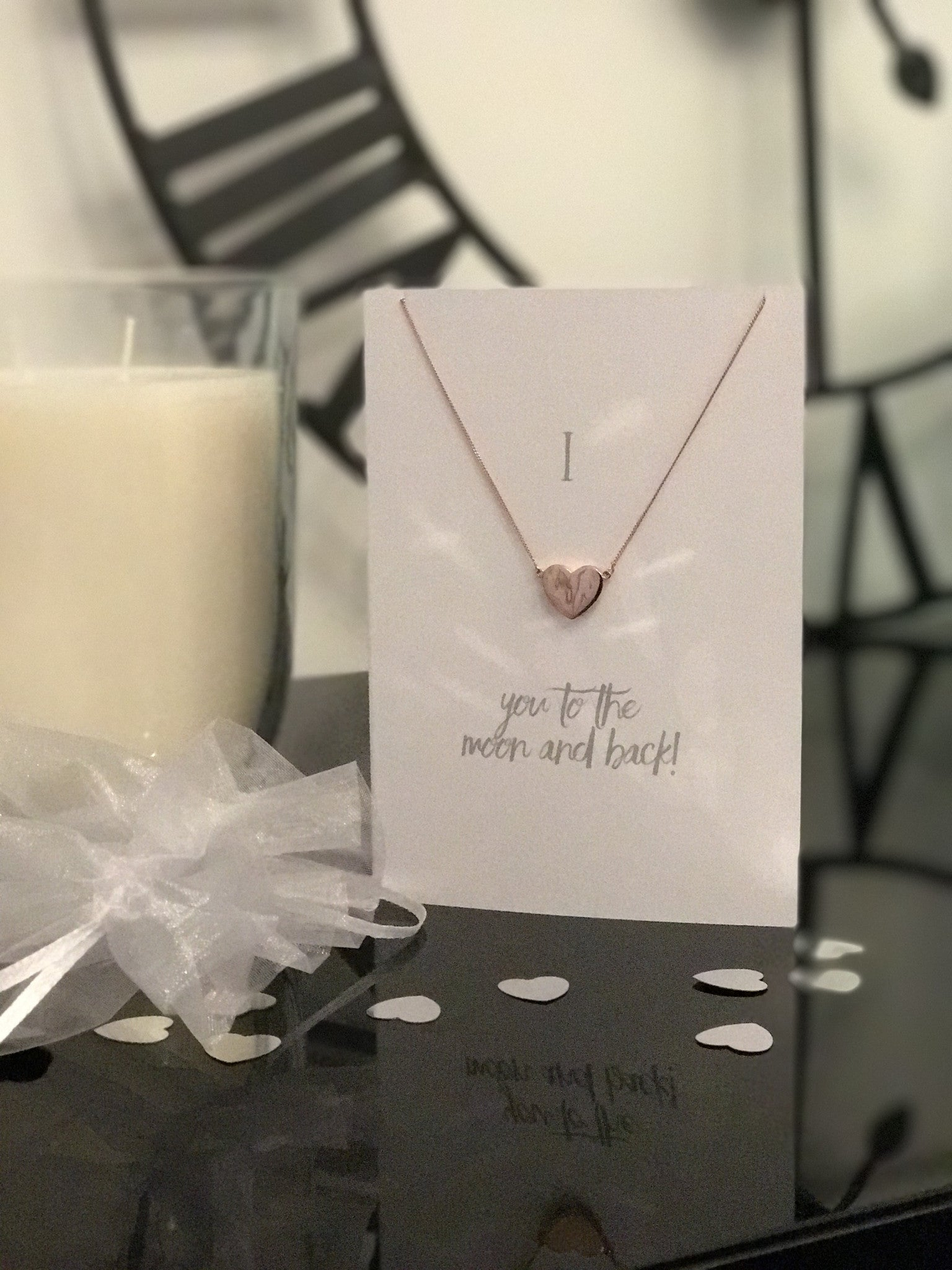 """I love you to the moon and back"" Necklace and Card"