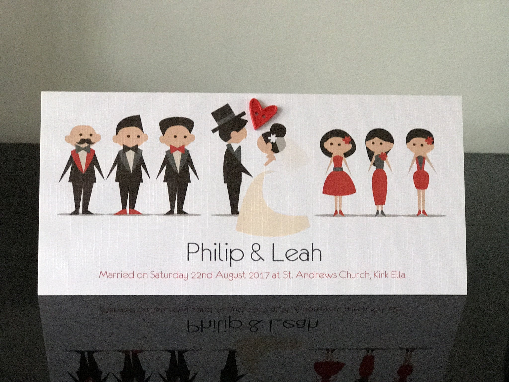 The Wedding Guests Heart - Luxury Handmade Personalised Wedding or Engagement Card