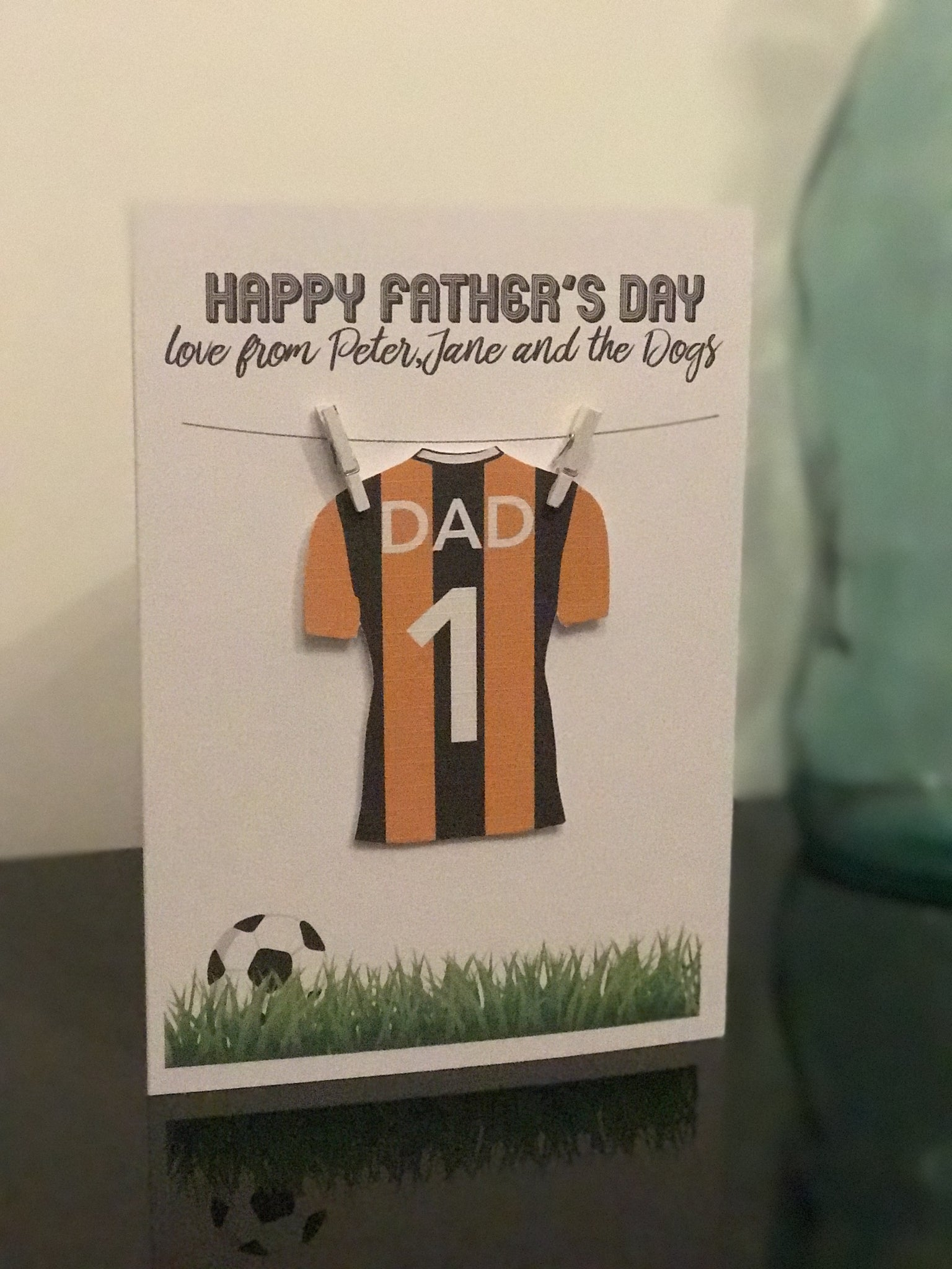 3D Personalised Handmade Rugby or Football Father's/Birthday Card - Hull City