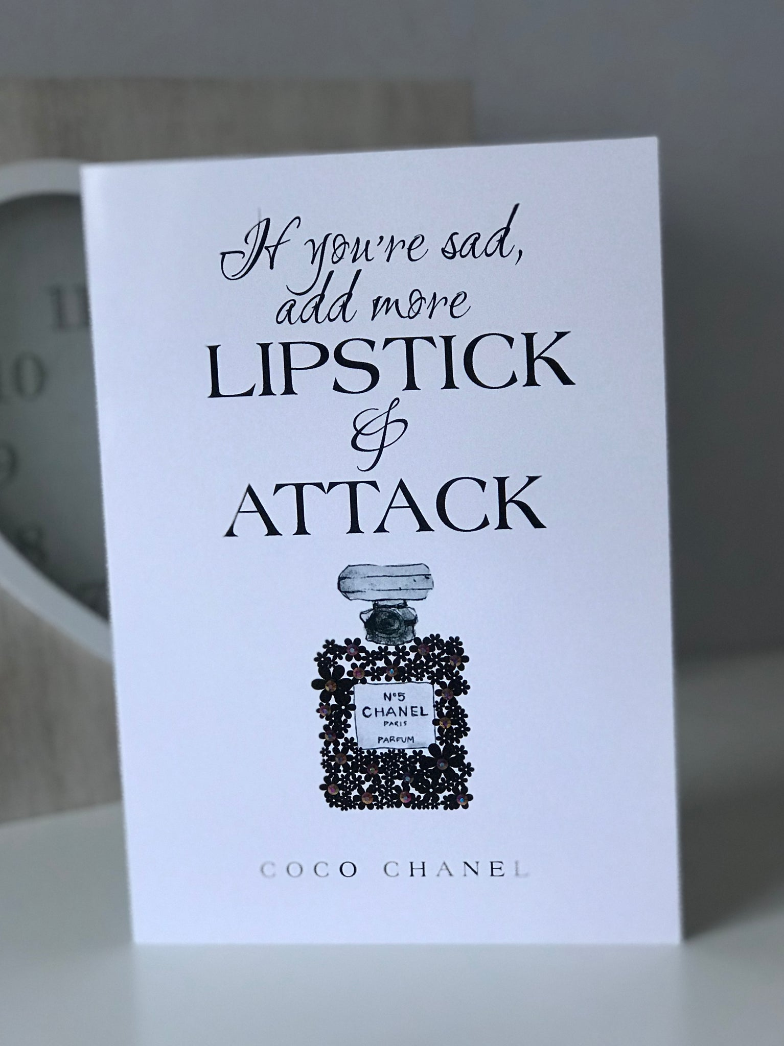 "Coco Chanel ""Lipstick and Attack"" Glossy Greetings Card"
