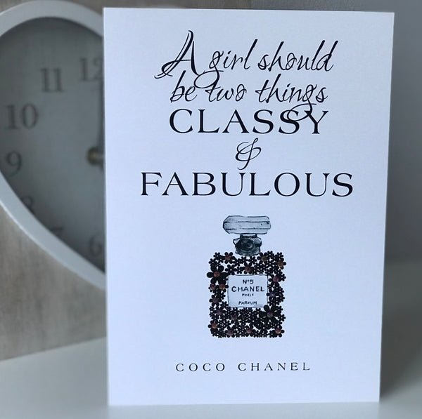 "Coco Chanel ""Classy and Fabulous"" Glossy Greetings Card"